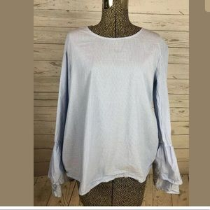 Halogen sz small blue and white stripe shirt
